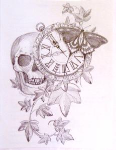 tête de mort et horloge papillon