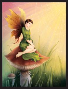 Fée assise sur un champignon