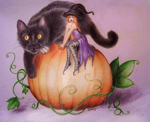 chat noir et fée sur une citrouille